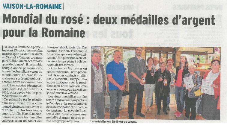 Mondial du Rosé la Provence la tribune le Vaucluse Matin la gazette Locale Vaison la Romaine